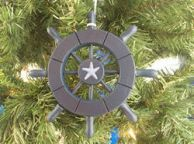 Dark Blue Decorative Ship Wheel With Starfish Christmas Tree Ornament 6