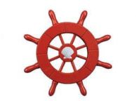 Red Decorative Ship Wheel With Seashell  6