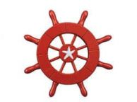Red Decorative Ship Wheel With Starfish 6