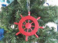 Red Decorative Ship Wheel Christmas Tree Ornament 6