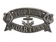 Antique Silver Cast Iron Poop Deck Quarters Sign 8