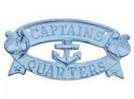 Rustic Dark Blue Whitewashed Cast Iron Captains Quarters Sign 8