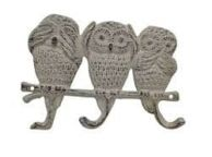 Aged White Cast Iron Owl Wall Hooks 9