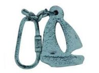 Dark Blue Whitewashed Cast Iron Sailboat Key Chain 5