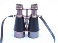 Admirals Antique Copper Binoculars With Leather Case 6