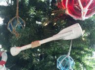 Wooden Rustic Whitewashed Decorative Squared Rowing Boat Oar Christmas Ornament 12