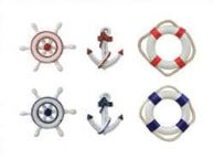 Set of 6 - Decorative Anchor, Lifering, and Ship Wheel Magnets 2