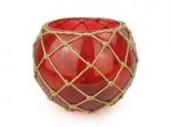 Red Japanese Glass Fishing Float Bowl with Decorative Brown Fish Netting 10