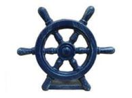 Rustic Dark Blue Cast Iron Ship Wheel Door Stopper 9