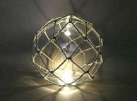 Tabletop LED Lighted Clear Japanese Glass Ball Fishing Float with White Netting Decoration 10