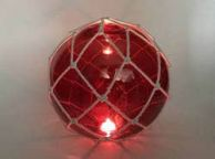 Tabletop LED Lighted Red Japanese Glass Ball Fishing Float with White Netting Decoration 10