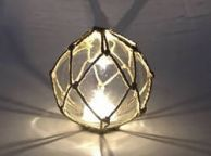 Tabletop LED Lighted Clear Japanese Glass Ball Fishing Float with Brown Netting Decoration 4
