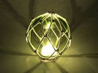 Tabletop LED Lighted Green Japanese Glass Ball Fishing Float with White Netting Decoration 4