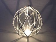 Tabletop LED Lighted Clear Japanese Glass Ball Fishing Float with White Netting Decoration 6