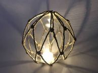 Tabletop LED Lighted Clear Japanese Glass Ball Fishing Float with Brown Netting Decoration 6
