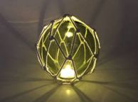 Tabletop LED Lighted Green  Japanese Glass Ball Fishing Float with White Netting Decoration 6