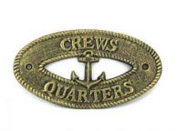 Antique Gold Cast Iron Crews Quarters with Anchor Sign 8