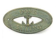 Antique Bronze Cast Iron Gone Sailing with Anchor Sign 8