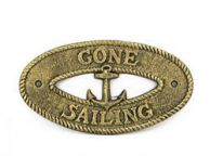 Antique Gold Cast Iron Gone Sailing with Anchor Sign 8