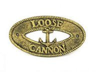 Antique Gold Cast Iron Loose Cannon with Anchor Sign 8