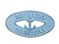 Dark Blue Whitewashed Cast Iron Mermaids Quarters with Anchor Sign 8