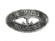 Antique Silver Cast Iron Mermaids Quarters with Anchor Sign 8