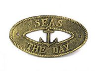 Antique Gold Cast Iron Seas the Day with Anchor Sign 8