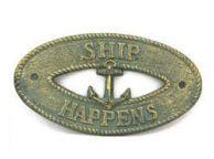 Antique Bronze Cast Iron Ship Happens with Anchor Sign 8