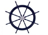 Deluxe Class Dark Blue Wood and Chrome Decorative Pirate Ship Steering Wheel 60