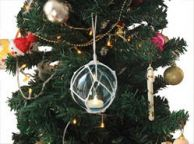 LED Lighted Light Blue Japanese Glass Ball Fishing Float with White Netting Christmas Tree Ornament 4