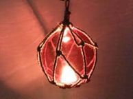 LED Lighted Red Japanese Glass Ball Fishing Float with Brown Netting Decoration 6
