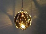 LED Lighted Amber Japanese Glass Ball Fishing Float with White Netting Decoration 3