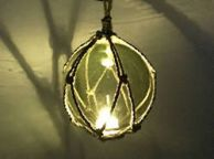 LED Lighted Green Japanese Glass Ball Fishing Float with Brown Netting Decoration 6