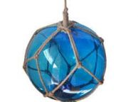 Light Blue Japanese Glass Ball Fishing Float With Brown Netting Decoration 10