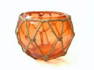 Orange Japanese Glass Fishing Float Bowl with Decorative Brown Fish Netting 6