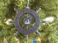 Dark Blue Decorative Ship Wheel With Sailboat Christmas Tree Ornament 6