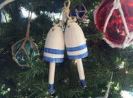 Wooden Vintage Dark Blue Maine Decorative Lobster Trap Buoys Christmas Ornament 7