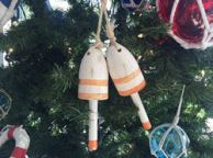 Wooden Vintage Orange Maine Decorative Lobster Trap Buoys Christmas Ornament 7
