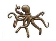 Antique Brass Octopus with Tentacle Hooks 11