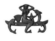 Rustic Silver Cast Iron Wall Mounted Mermaid with Dolphin Hooks 9