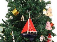 Wooden American Paradise Model Sailboat Christmas Tree Ornament