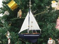 Wooden Gone Sailing Model Sailboat Christmas Tree Ornament