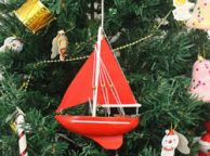 Wooden Red Sea Model Sailboat Christmas Tree Ornament