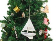 Wooden Seas the Day Model Sailboat Christmas Tree Ornament