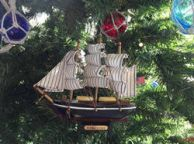 Wooden Flying Cloud Model Ship Christmas Tree Ornament