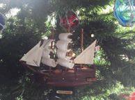 Wooden Mayflower Model Ship Christmas Tree Ornament