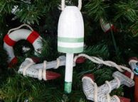 Vintage Green Decorative Lobster Trap Buoy Christmas Tree Ornament
