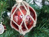 Glass and Rope Red Fishing Float Christmas Tree Ornament
