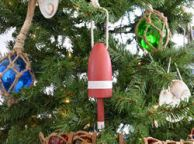 Wooden Red Maine Lobster Trap Buoy Christmas Tree Ornament