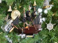 Wooden Captain Kidds Adventure Galley Model Pirate Ship Christmas Tree Ornament